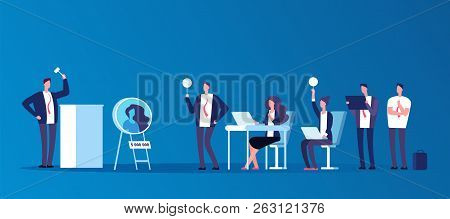 Auction Concept. People People Bidding In Public Auction House. Bidder, Buyer And Auctioneer Vector