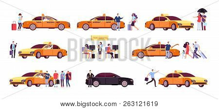People And Taxi. Cab Drivers Passenger And Car In Ride. Taxi Service Isolated Icons. Taxi Service Ca