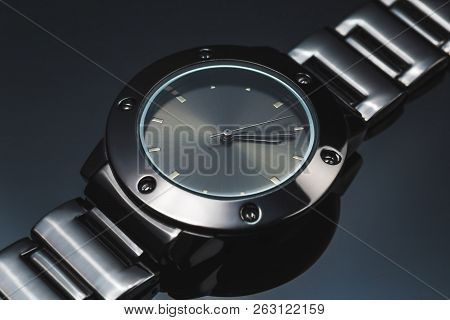 Wrist Watch Smooth Black Metal Luxury Expensive Selective Focus On Black Mirror With Reflection Dark
