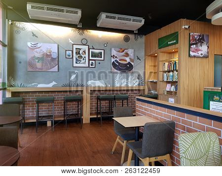 7 October 2018 Pathumthani Thailand: Amazon Coffee Shop At Gas Station,the Concept Of Cafe Shop Inte