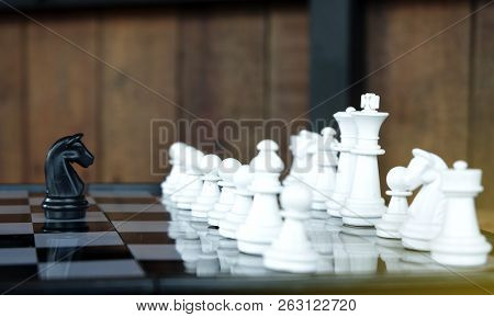 Business Leader And Confrontation Solve Problems Concept Chess Board Game With Copy Space For Your T
