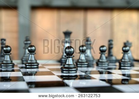 Pawns Staying Against Each Other On Chess Board. With Selective Focus On Pawn.