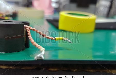 Rework Electronic Component With Cable And Yellow Tape For Soldering Station. Electronics Repair Clo