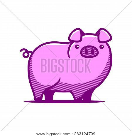 Cute Pig. Cheerful Pig. Funny Pig Vector. Domestic Isolated Mammal, Agriculture Cute Pink Pig And Pi
