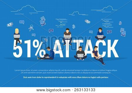 51 Percent Attack Concept Flat Vector Illustration Of Stealing Cryptocurrency Or Other Blockchain-ba