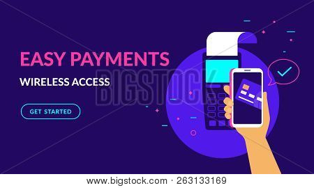 Pay By Credit Card In Your Mobile Wallet Wirelessly And Easy Flat Vector Neon Illustration For Web B