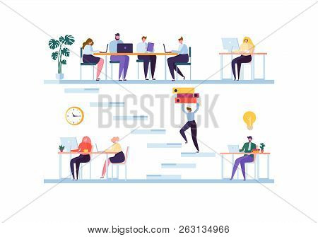 Coworking Space Concept. Coworkers Characters Team Working. Office Employees Working With Laptop And