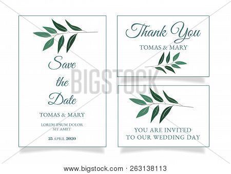 Rustic Wedding Invitation Template With Little Green Leaf