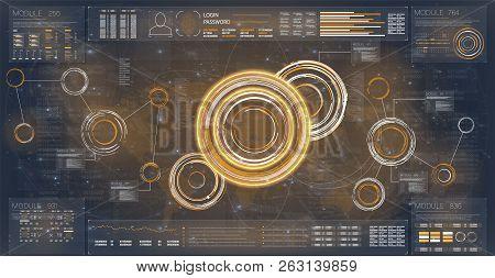 Hud Radar. Set For Banner Design. Hud Futuristic Template. Concept Vector Futuristic Interface. Mode