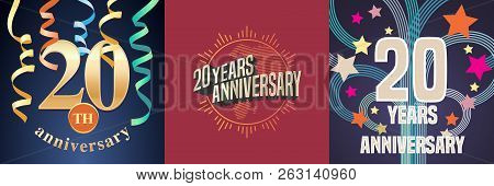 20 Years Anniversary Celebration Set Of Vector Icons, Logo. Template Design Element With Golden Numb