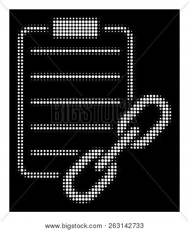 Halftone Pixel Blockchain Contract Icon. White Pictogram With Pixel Geometric Pattern On A Black Bac