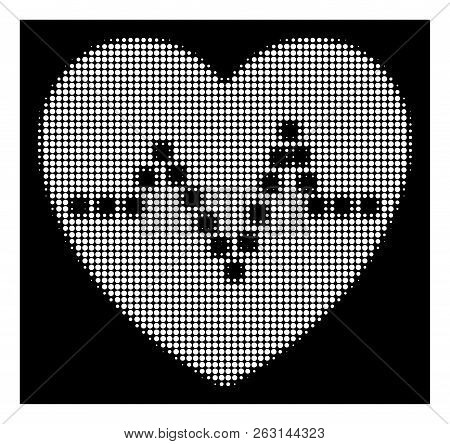Halftone Pixelated Heart Pulse Icon. White Pictogram With Pixelated Geometric Pattern On A Black Bac