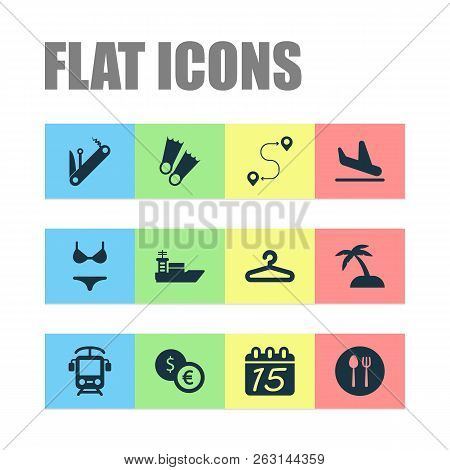 Journey Icons Set With Electric Train, Ship, Hanger And Other Destination Elements. Isolated Vector