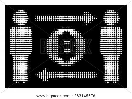 Halftone Pixel People Exchange Bitcoin Coin Icon. White Pictogram With Pixel Geometric Pattern On A