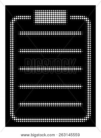 Halftone Pixel List Page Icon. White Pictogram With Pixel Geometric Structure On A Black Background.