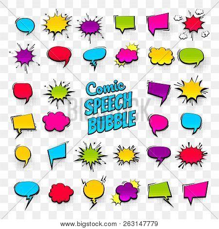 Big Set Hand Drawn Colored Blank Effects Template Comic Speech Bubbles Halftone Dot Vector Backgroun