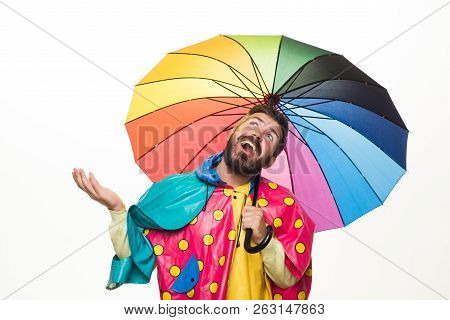Brutal Bearded Man With Rainbow-colored Umbrella Isolated On White Background. Rain Weather. Cloud R