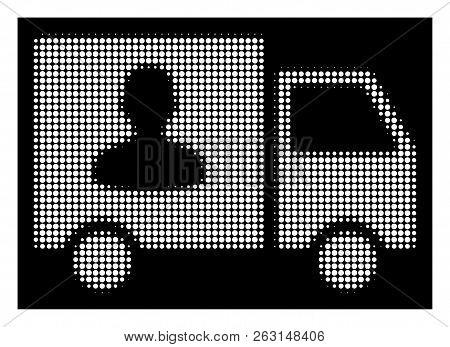 Halftone Pixelated Passenger Transport Van Icon. White Pictogram With Pixelated Geometric Structure