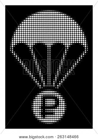 Halftone Pixelated Rouble Rescue Icon. White Pictogram With Pixelated Geometric Pattern On A Black B