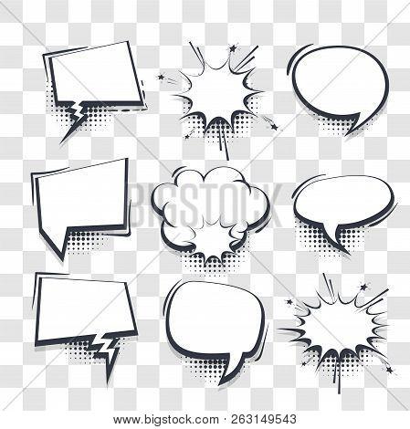 Big Set Hand Drawn Blank Effects Template Comic Speech Bubbles Halftone Dot Vector Transparent Backg
