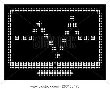 Halftone Dotted Pulse Monitoring Icon. White Pictogram With Dotted Geometric Pattern On A Black Back