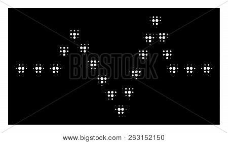 Halftone Dotted Pulse Icon. White Pictogram With Dotted Geometric Pattern On A Black Background. Vec