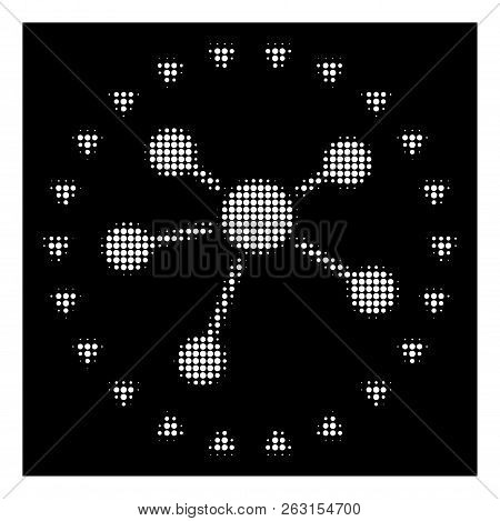 Halftone Dotted Links Diagram Icon. White Pictogram With Dotted Geometric Structure On A Black Backg