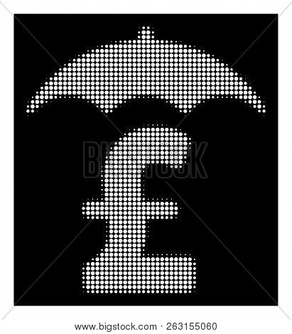 Halftone Dotted Pound Finances Roof Icon. White Pictogram With Dotted Geometric Structure On A Black