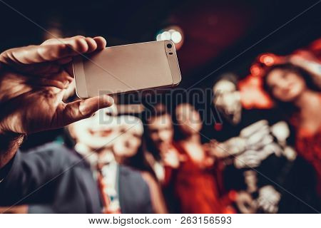 Closeup Of Man In Halloween Costume Taking Selfie. Young Smiling Man Taking Selfie Together With Gro