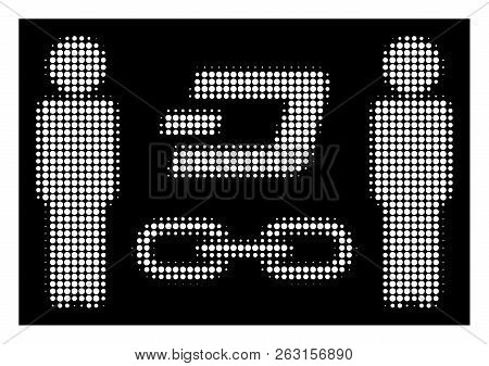 Halftone Pixel People Dash Blockchain Icon. White Pictogram With Pixel Geometric Structure On A Blac