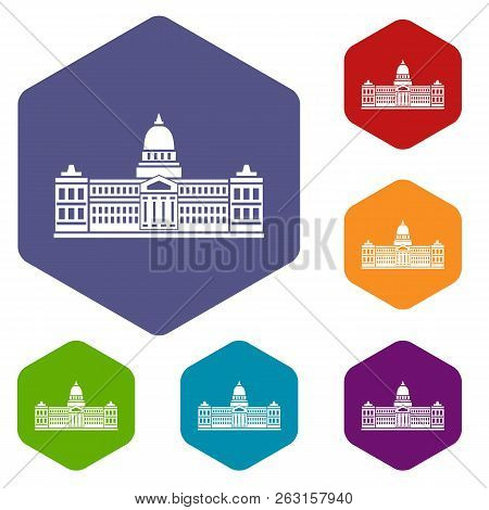 Palace Of Congress In Buenos Aires, Argentina Icons Set Hexagon Isolated Illustration