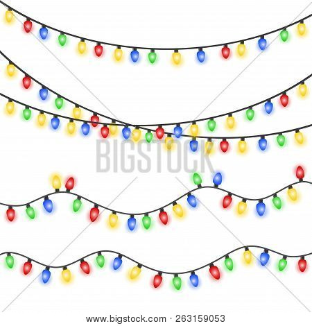 Set Of Xmas Colorful Glowing Garland. Christmas Lights Isolated On White Background. Eps 10 Vector I