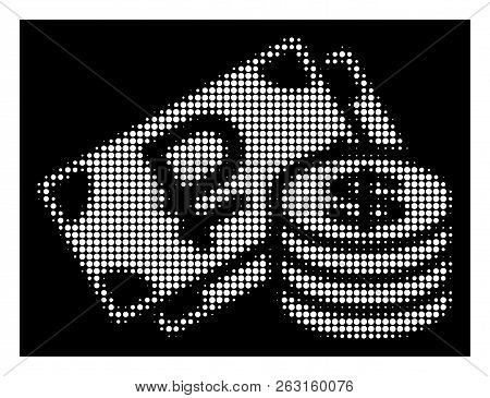 Halftone Pixel Rouble And Dollar Cash Icon. White Pictogram With Pixel Geometric Pattern On A Black