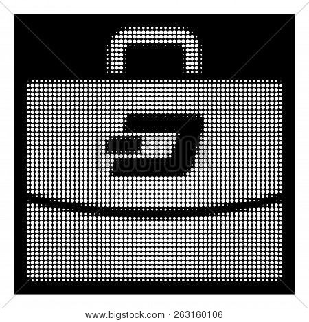 Halftone Pixel Dash Accounting Case Icon. White Pictogram With Pixel Geometric Structure On A Black