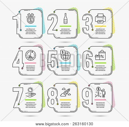 Infographic Template With Numbers 9 Options. Set Of Shopping, World Money And Printer Icons. Sun Pro