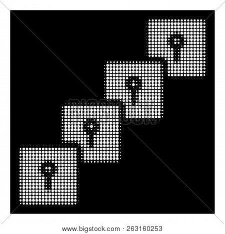 Halftone Pixelated Locker Blockchain Icon. White Pictogram With Pixelated Geometric Structure On A B