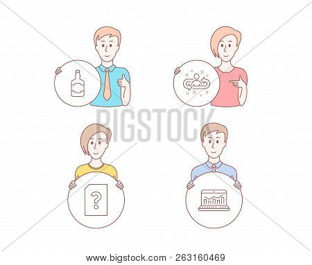 People Hand Drawn Style. Set Of Whiskey Bottle, Unknown File And Recruitment Icons. Web Analytics Si