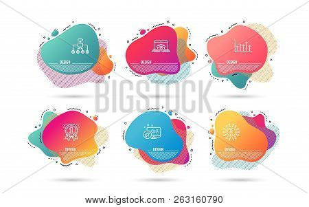Dynamic Liquid Shapes. Set Of Growth Chart, Reward And Restructuring Icons. Online Delivery Sign. Up