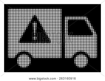 Halftone Pixel Danger Transport Truck Icon. White Pictogram With Pixel Geometric Structure On A Blac