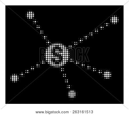 Halftone Pixelated Dotted Financial Links Icon. White Pictogram With Pixelated Geometric Structure O