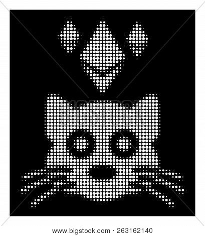 Halftone Pixel Ethereum Crypto Kitty Icon. White Pictogram With Pixel Geometric Structure On A Black