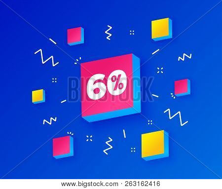 60 Percent Discount Sign Icon. Sale Symbol. Special Offer Label. Isometric Cubes With Geometric Shap