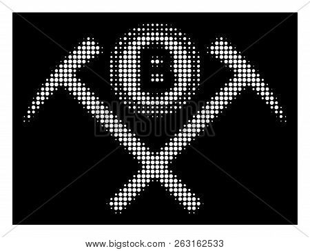 Halftone Pixel Bitcoin Mining Hammers Icon. White Pictogram With Pixel Geometric Pattern On A Black