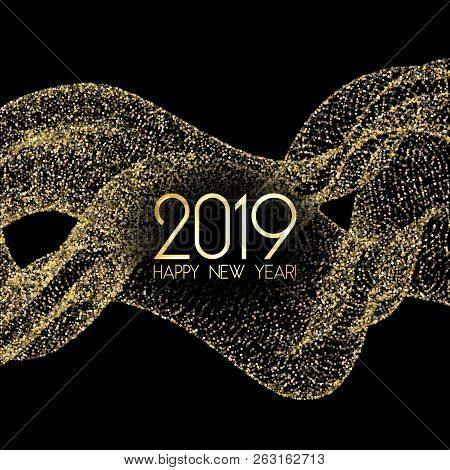 Luxury 2019 Happy New Year Card With Gold Confetti. Foil Texture Gold Glitter Confetti Sparkles On B