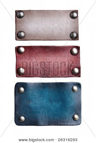 Isolated blank leather tags