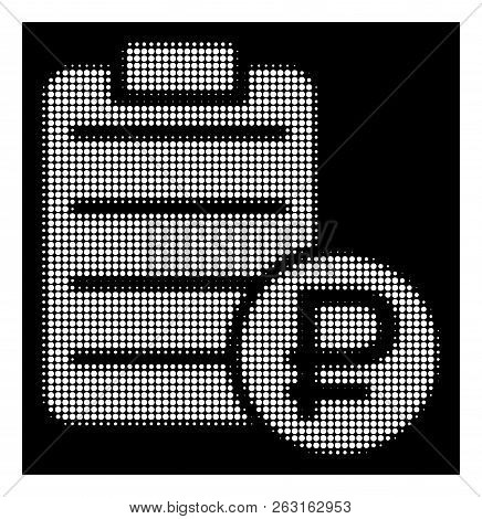 Halftone Pixelated Rouble Price List Icon. White Pictogram With Pixelated Geometric Pattern On A Bla