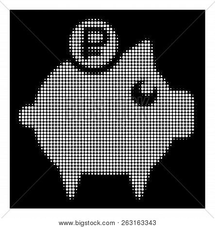 Halftone pixelated rouble piggy bank icon. White pictogram with pixelated geometric structure on a black background. Vector rouble piggy bank icon designed of circle pixels. poster