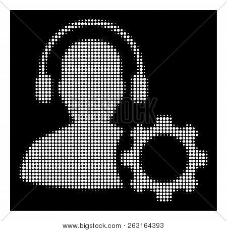 Halftone pixelated operator configuration gear icon. White pictogram with pixelated geometric pattern on a black background. Vector operator configuration gear icon combined of round points. poster