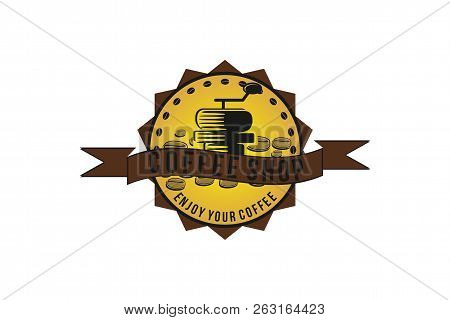 Coffee Grinder, Coffee Roaster, Vintage Coffee Shop Logo Designs Inspiration Isolated On White Backg