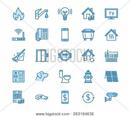 Public Utilities Flat Line Icons. Rent Receipt, Electricity Water, Gas, House Heating, Cctv, Overhau
